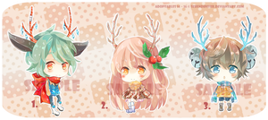 [CLOSE] Adoptables 14 ~16 : Reindeers of X'mas Eve by Staccatos