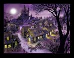 medieval village at night by scratchmark