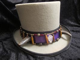 Buffalo-Horned Crystal Arrowhead Hatband 1 by Windthin