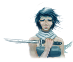 Female Ninja Doodle by Catwagons