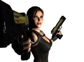 Lara and her's pistols by Hiddenus