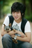 Korean guy with fluffy dog by LiviuSquinky