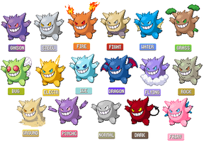 The Many Forms of Gengar by justwh22