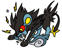 luxray chews on pachirisu by denkimouse