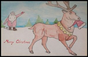 Merry Christmas Card: Happy Reindeer by Fregatto