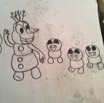 Inktober 4: Olaf and Snowgies by Dulcechica19