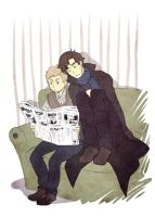Sherlock - sitting and reading by PetitPotato