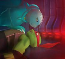 TMNT 2012 Raph x Mona Lisa - In space 2015 by Lesya7