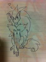 Uncolored Sitting Zoroark by Zorceus