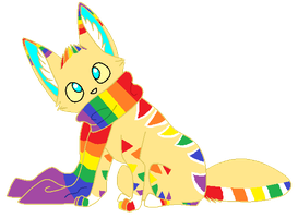 Rainbow Scarf Fox Adopt by DeerNTheHeadlights