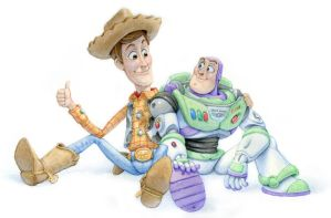 Woody and Buzz watercolour by ShaneMadeArt