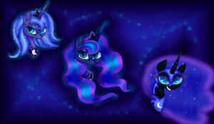 Princess Luna Trio by PlagueDogs123