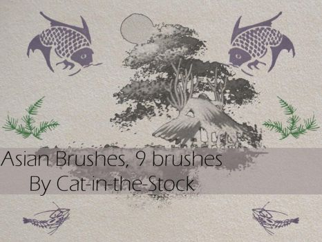 Asian designs brushes by Cat-in-the-Stock