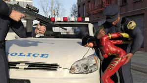 Spider-Woman vs Two Cops 07 by DahriAlGhul