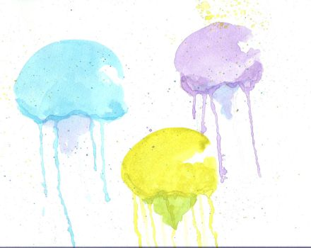 Watercolour Jellyfish by BLUE-F0X