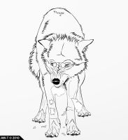 Angry Wolf Lineart by AbsoluteWolf