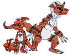 Guilmon, Growlmon, and Gigimon by uhnevermind
