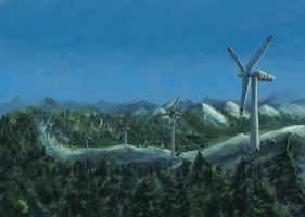 Turbines in the Mountains by Dash-X