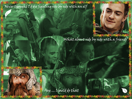 Legolas and Gimli friendship wallpaper by LycanSpirit