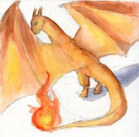 Charizard Watercolor Doodle by Kaliaen