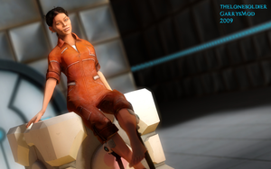 Chell Pinup 2 by thelonesoldier
