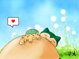 Snorlax and Numel by inu-chan-free