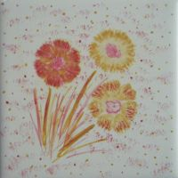 Tile painting #2: Flowers by letmeusemyname