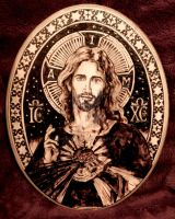 Sacred Heart of Jesus IV - Pyrography by Theophilia