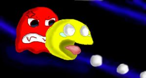 OMG Pacman Red Blob is here by Forest-shrine-wolf