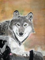 Watercolor Grey Wolf by WolfDeityProductions