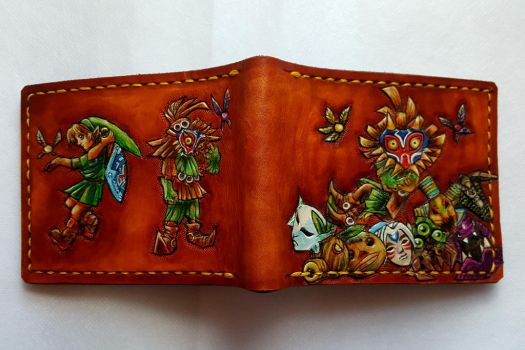 All of the Masks. Leather wallet by Bubblypies