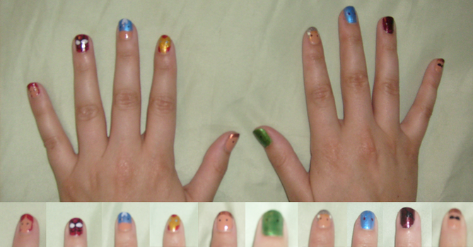 Avengers + Spider-Man Nails by chubby-choco