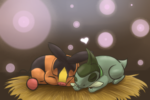 Tepig and Axew by CaitlinBear