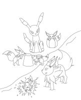 PKMN: Eevees at the beach Inks by mashashy