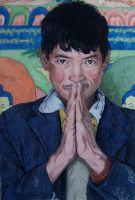 Tibetan in water colour pencil by lalitpatanpur
