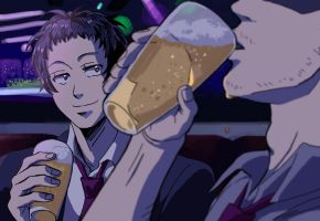 Drinking with Adachi by rijinks