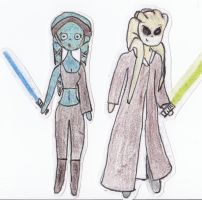 Paper Star Wars - Aayla Secura and Kit Fisto by Glorfindelle