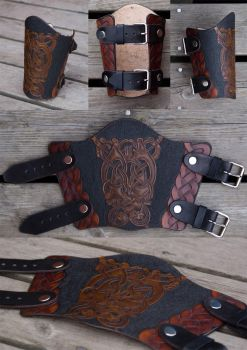 Leather Bracer Oseberg by Wodenswolf