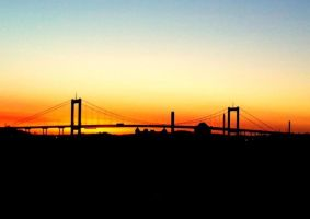 beautiful sunset over the bridge by lovsan1