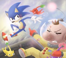 Sonic Vs Olimar by scilk