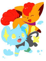Shinx and Vulpix by humphreywolf2012