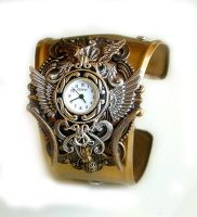 Gothic Steampunk Cuff Watch TIME IS FLYING by LeBoudoirNoir