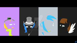 TotallyAwesomeMinimalisticPonyWallpaper - THE FOUR by BlueYoukai
