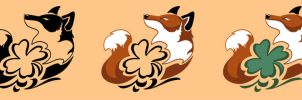 Fox and Lucky Clover Tattoo by CrownePrince