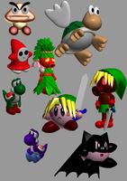 some 3D Nintendo characters by lorienelf