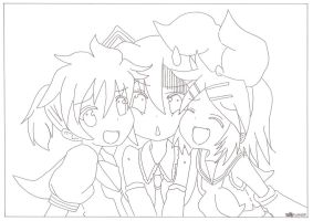 vocaloid chibi lineart by amai-raion