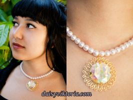 Crystal White Gem Necklace by DaisyViktoria
