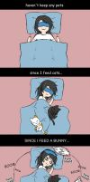 Sleeping with pets by DeluCat