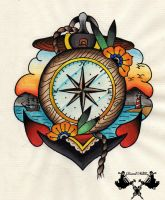 tattoo-flash compass and anchor by Tausend-Nadeln