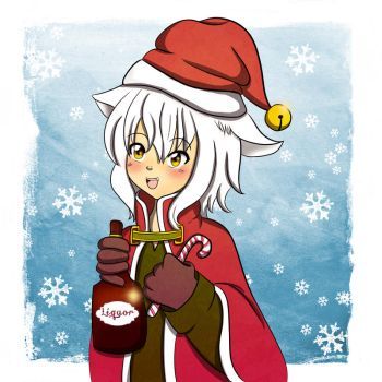 neko white christmas boy by Ewillice